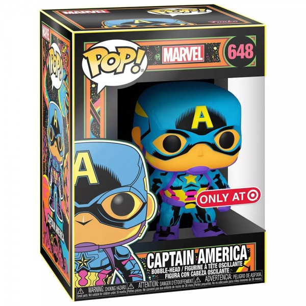 Фигурка Funko POP! Bobble: Marvel: Black Light: Captain America (Эксклюзив)
